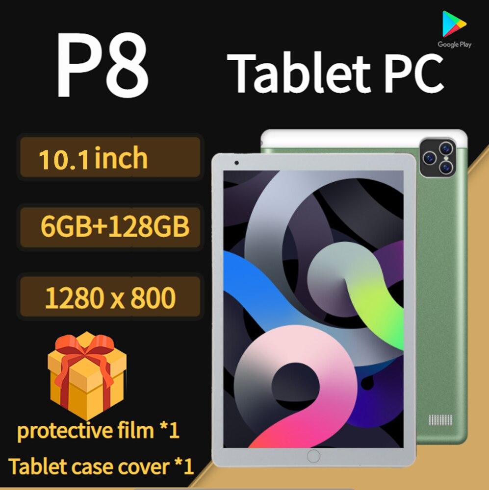 تابلت P8 مقاس 8 بوصة وذاكرة وصول عشوائي 6 جيجا بايت وذاكرة قراءة فقط 128 جيجا بايت كمبيوتر لوحي MT6797 4G 10 Core تابلت أندرويد 11.0 واي فاي Type-C