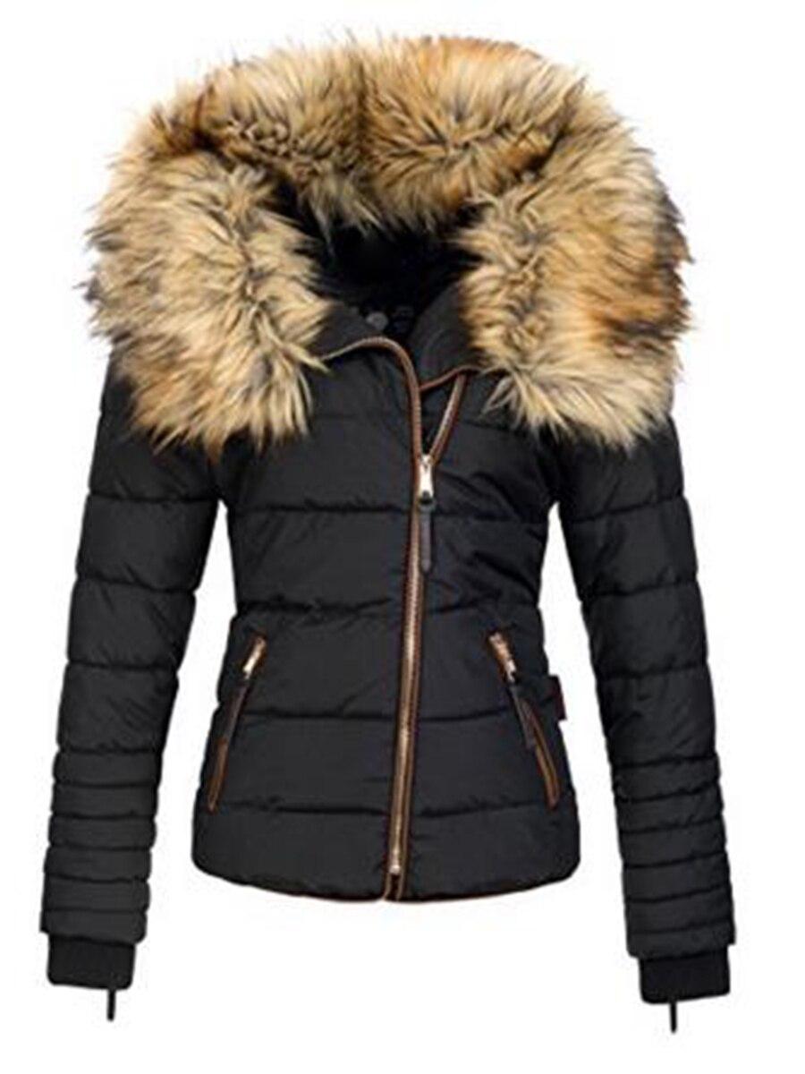 Winter Coats Women Down Jacket Warm Faux Fur Collar Warm Thicken Parka Outwear Female 2021 Zipper Bl