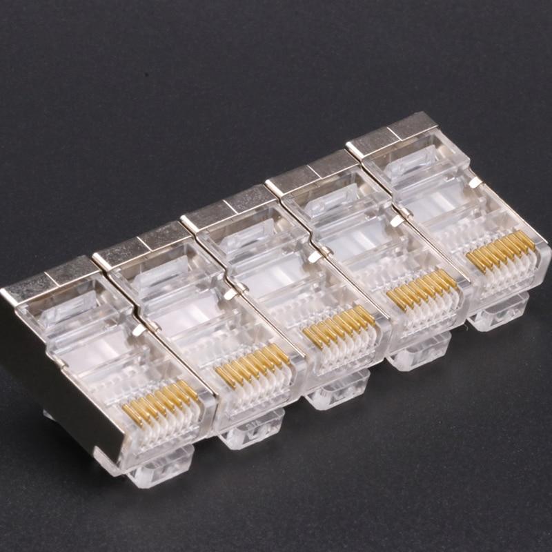 500 قطعة RJ45 كابلات الشبكة وحدات موصلات 8P8C CAT5 CAT5e CAT6 للخيارات UTP محمية وحدات RJ45 التوصيل