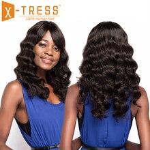 Perruque Loose Wave non-remy brésilienne à frange   Perruque de cheveux naturels longs, couleur naturelle, 20 pouces, avec partie latérale, pour femmes