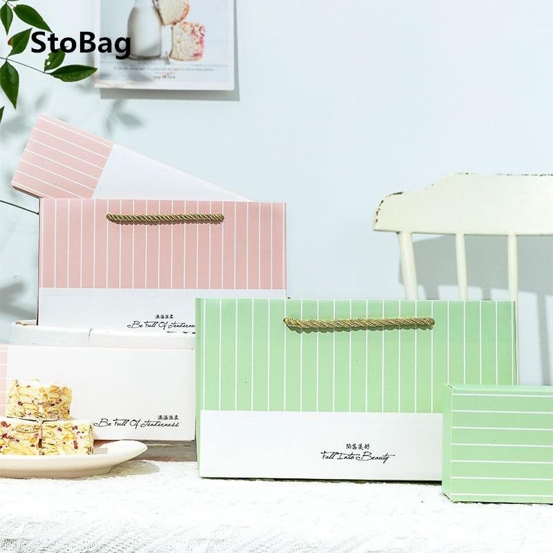 Caja de 10 Uds. De paquete de galletas StoBag, 5 uds., bolsas de mano hechas a mano para cumpleaños, fiesta de bienvenida al bebé