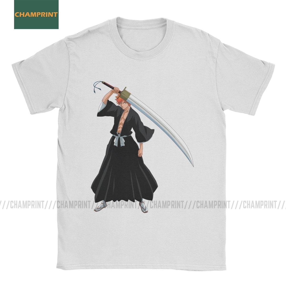 T camisa de algodão dos homens t camisa do anime hitsugaya toushirou zaraki da luva curta t