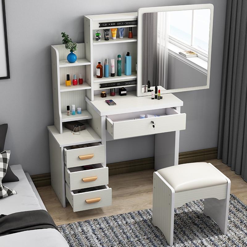 Sliding Mirror Dressing Table Small Bedroom Modern Makeup Organizer Table Simple Wooden Dressing Storage Vanity Set For Girls