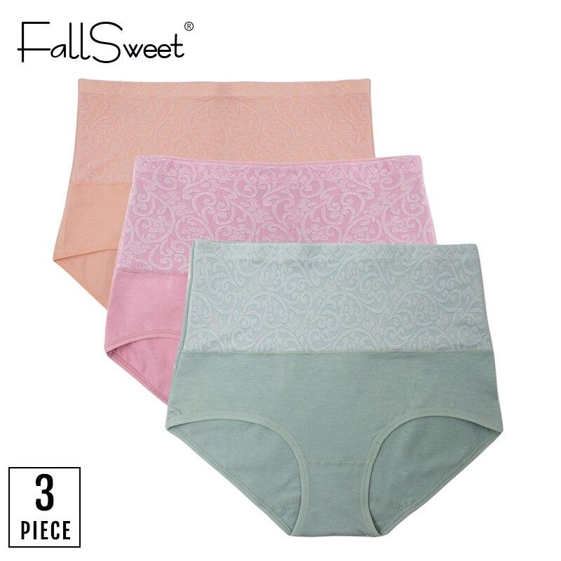 FallSweet 3 pcs/Pack !Tummy Control Women Panties Plus Size Cotton Underwear High Waist Slimming Solid Briefs