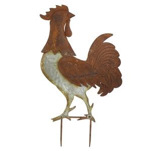 Metal Garden Stake Garden Decoration Chicken Rooster Shaped Statue Backyards Stake Decoration Retro Sculpture