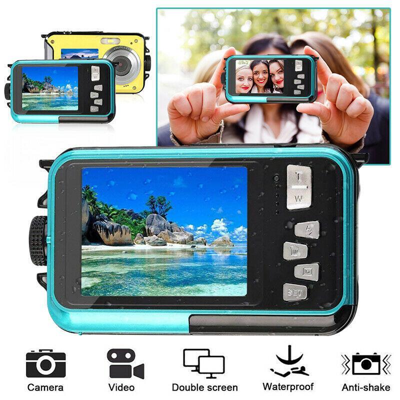 TFT Digital Camera Waterproof 24MP MAX 1080P Double Screen 16x Digital Zoom Camcorder HD268 Underwater Camera r20