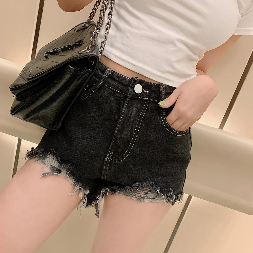 Sexy Bright Line Raw Edge Denim Shorts High Waist  New Retro Tattered Jeans Slimming and Wide Leg Chic Style  Fashion All Match