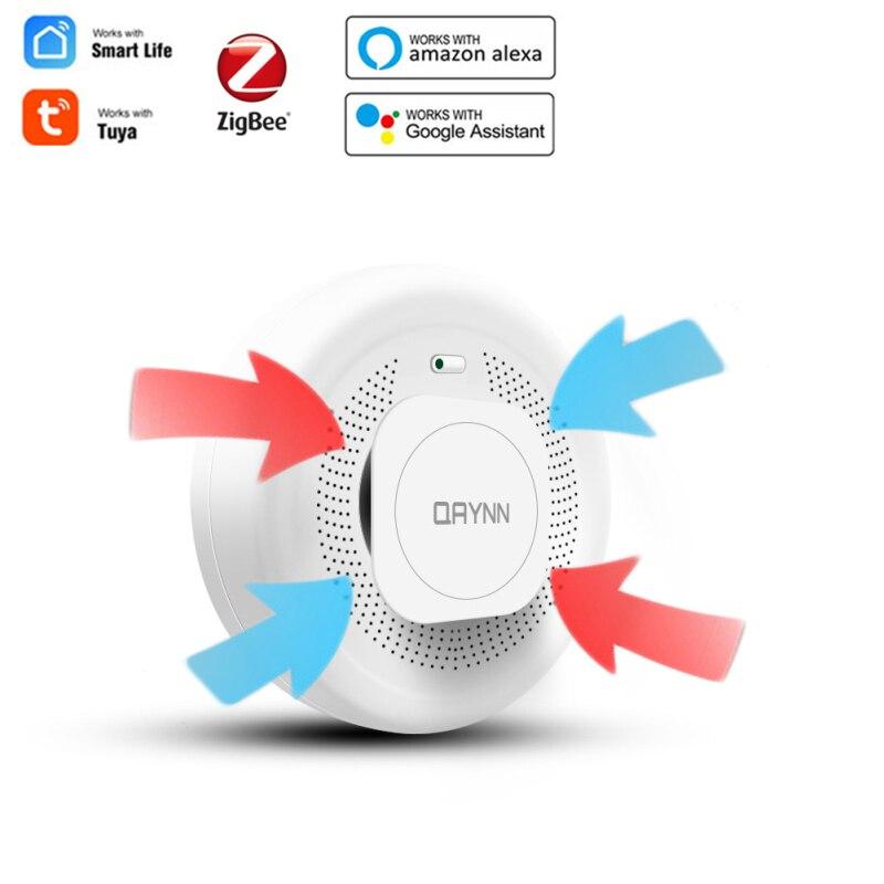 Tuya الذكية الدخان إنذار زيجبي الذكية الدخان كاشف حساس نظام إنذار أمان App التحكم عن بعد الدخان إنذار الحريق