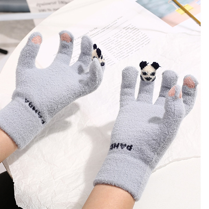 Warm Winter Knitted Full Finger Gloves Women Mittens Cute Cartoon Panada Touch Screen Warm Thick Glo