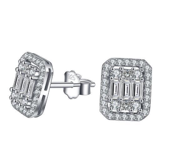 Tshou105 tiff 925 brincos de prata esterlina quadrada feminino presentes de natal para mulher