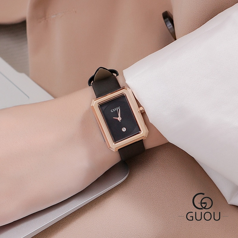 Marca de Luxo da Moda Relógio de Pulso de Couro das Senhoras Relógio de Quartzo Feminino à Prova Água para a Menina Pequeno Dial Mulheres Relógios Fino Relógio d'