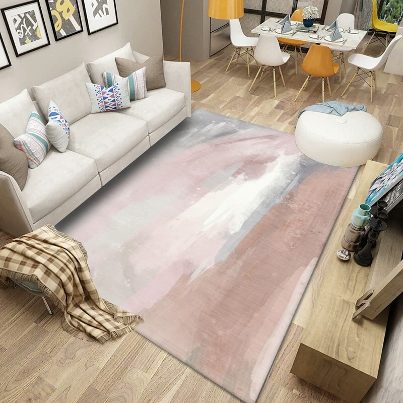 النمط الأوروبي غرفة المعيشة المنزلي السجاد ضوء الفاخرة البصرية مجردة سجادة غرفة النوم مخصص مستطيلة آلة السجاد قابل للغسل cu