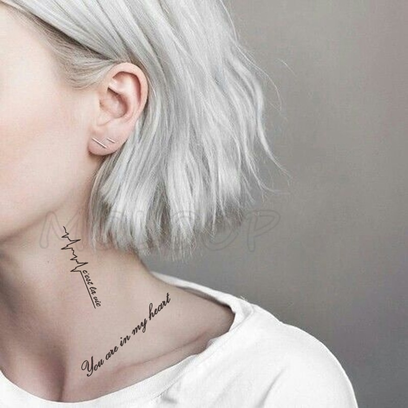 AliExpress - Water Transfer Tattoo Sexy Black Letter Lifeline Tattoo Body Art Waterproof Temporary Fake Flash Tattoo for Man Woman 10.5*6cm