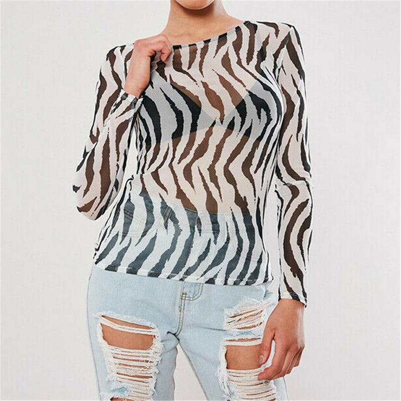 Blusa de verano con estampado de cebra, blusas transparentes de malla transparente para mujer, blusas estampadas para mujer, blusas Casuales
