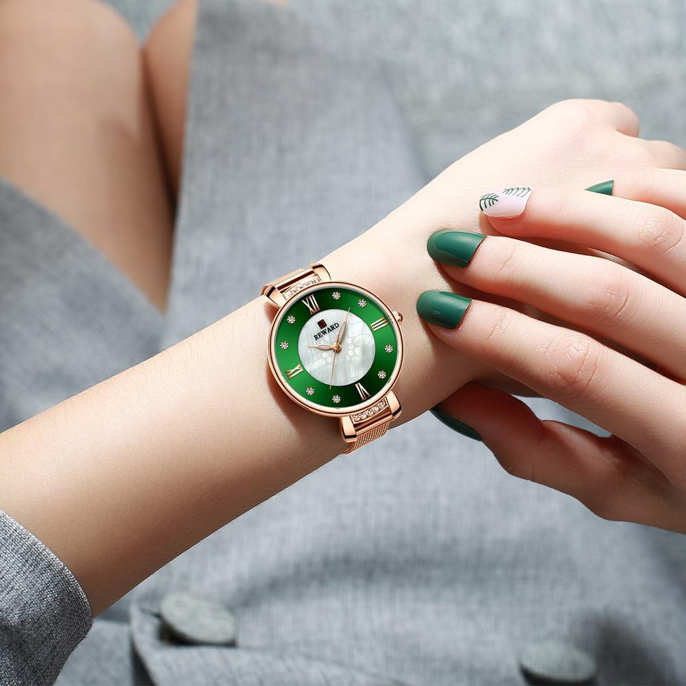 RD Luxury Crystal Watch Women Waterproof Pearl Dial Steel Strap Ladies Wrist Watches Top Brand Bracelet Clock Relogio Feminino enlarge