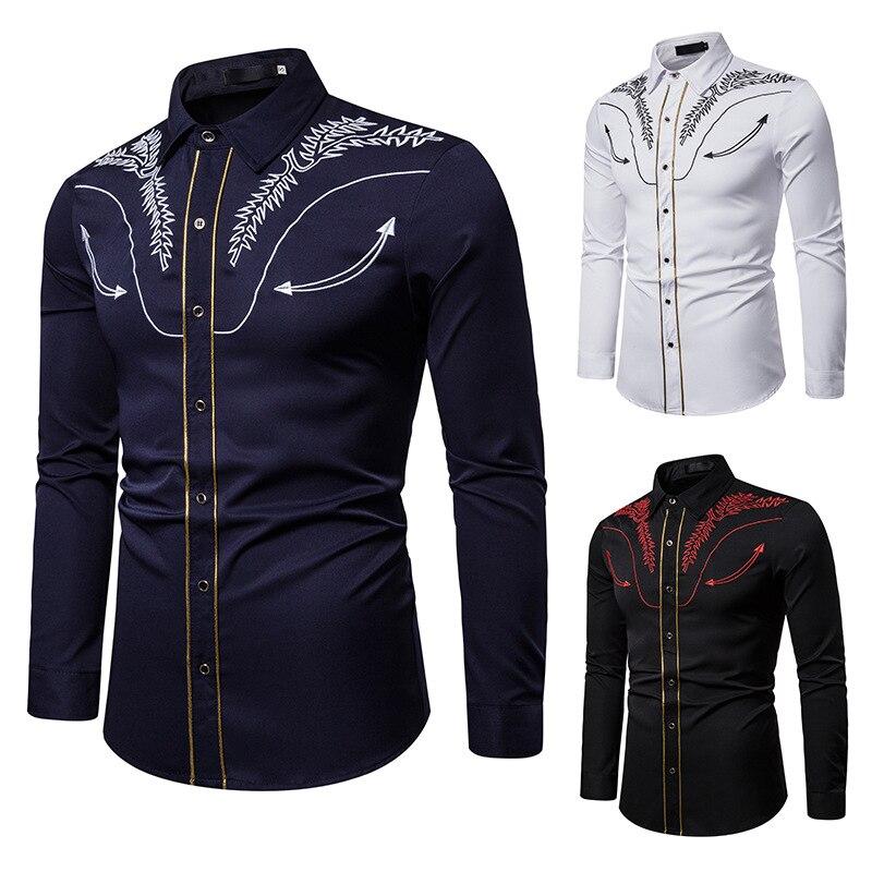 Рубашка мужская с длинным рукавом Повседневная Деловая сорочка Slim Fit принтом
