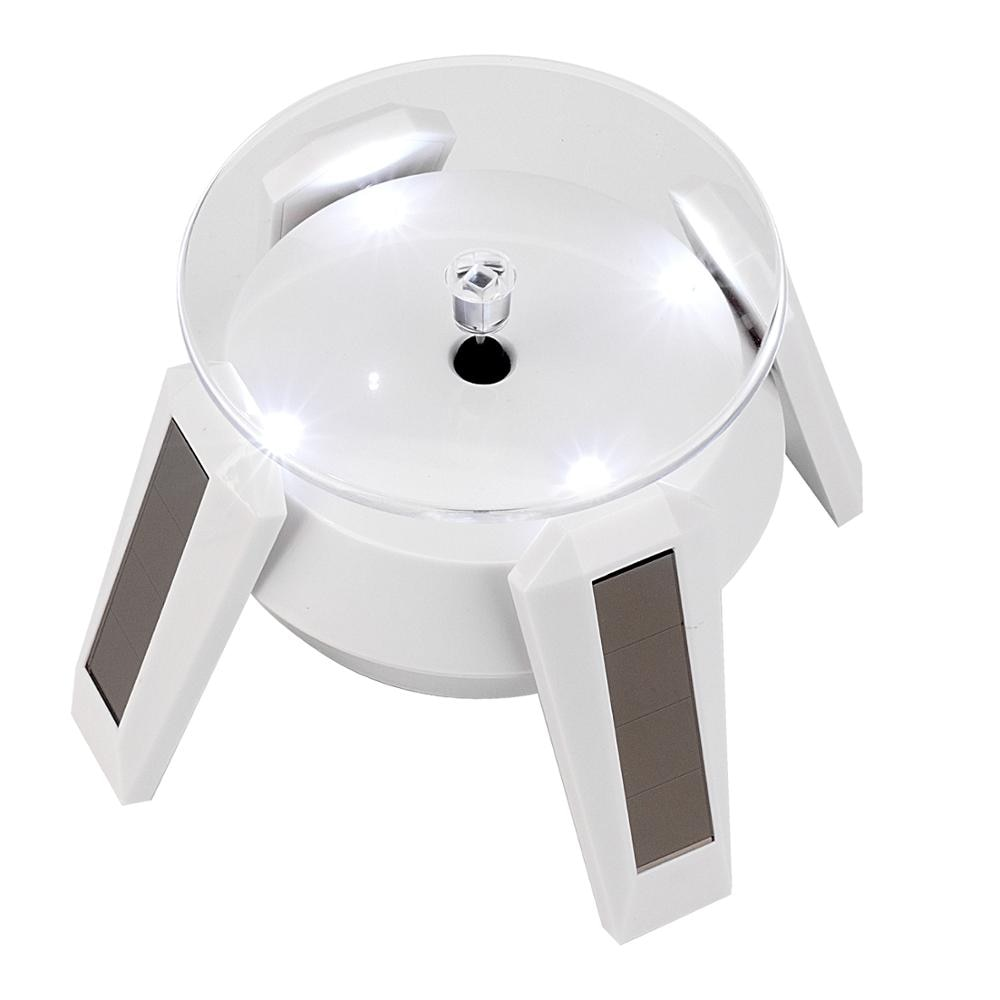 Soporte giratorio para joyería de 360 grados con energía Solar/batería, placa giratoria, joyero de mesa, organizador, soporte de exhibición duro