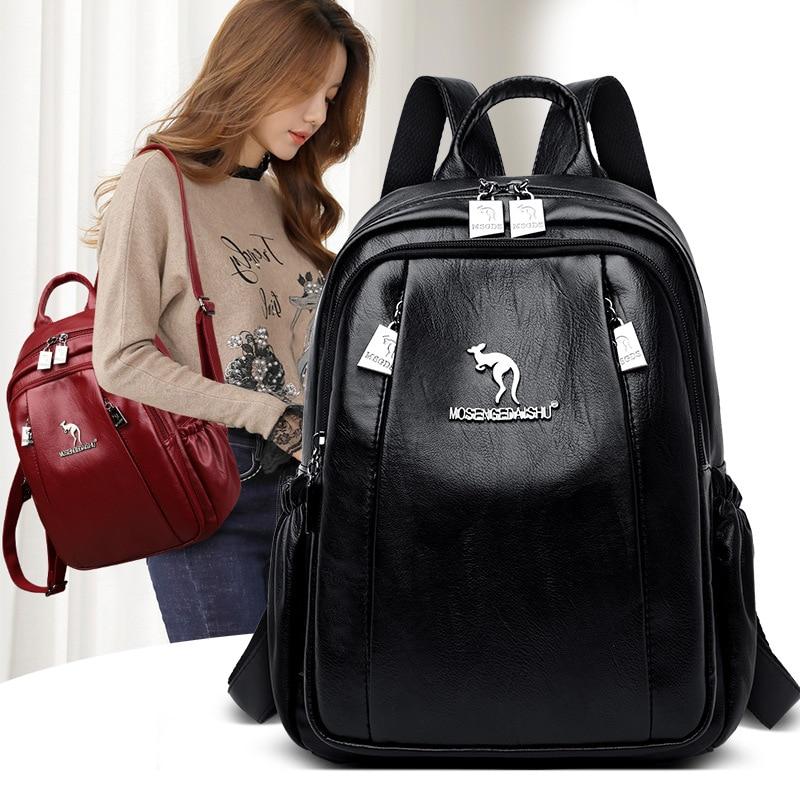 موضة مزدوجة سستة النساء حقائب الظهر الفاخرة العلامة التجارية حقيبة المدرسة Tor المراهقين الفتيات لينة جلد السيدات السفر Bookbag Mochila