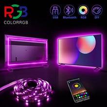ColorRGB, retroilluminazione per tv, striscia LED alimentata tramite USB, RGB5050 per TV da 24 pollici-60 pollici, specchio, PC, diagonale controllo APP