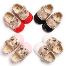 2021 Brand New Newborn Baby Girl Bow Princess Shoes Soft Sole Crib Leather Solid Buckle Strap Flat W
