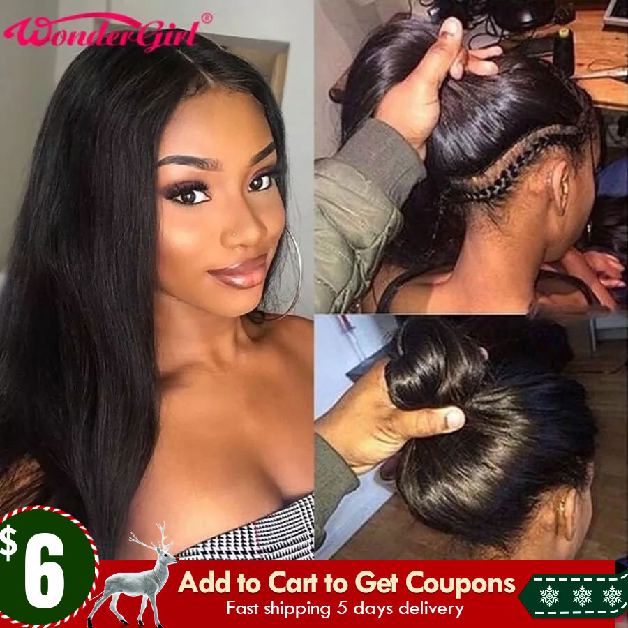 Straight Transparent Lace Wigs Middle Part wig Lace Front Wig Pre Plucked Remy Lace Front Human Hair Wigs For Women 150%