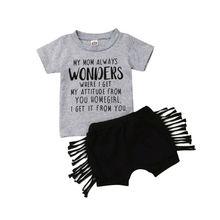 Pudcoco-vêtements pour nouveaux-nés   Stock US, vêtements pour bébés filles avec lettres imprimées, chemise à manches courtes, pantalons courts, deux pièces