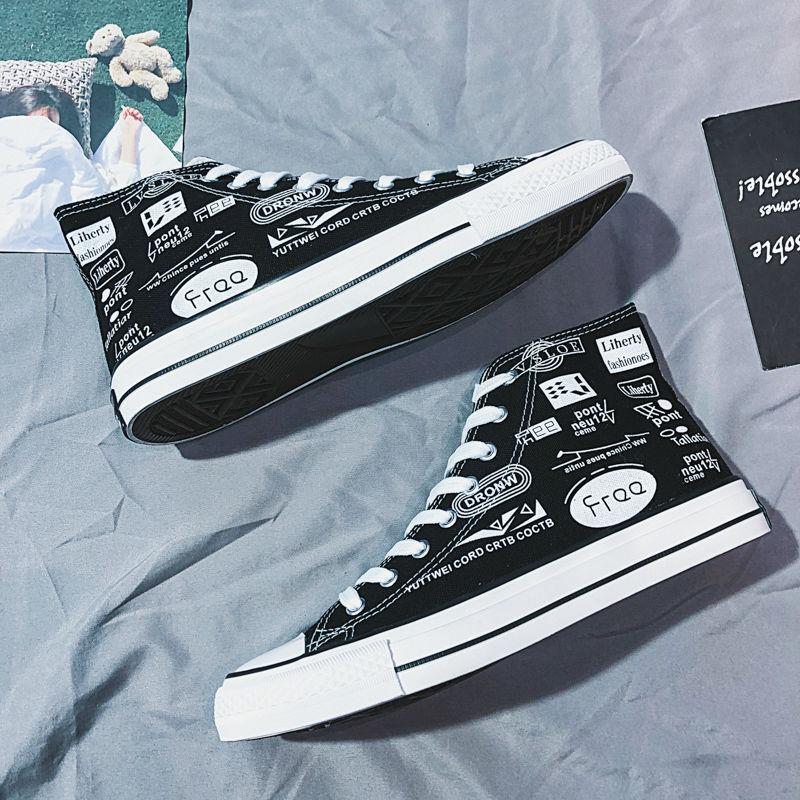 Tênis de Moda do Homem Sapatos de Lona Plana com Camuflagem Clássico Graffiti Rendas-up Alta Superior Outono Sapatos Casuais