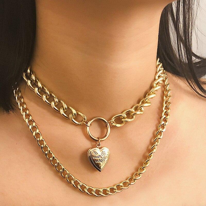Collar con colgante de flores talladas en forma de corazón Vintage, joyería para mujer, collar dorado Punk, Gargantilla abierta creativa, collares llamativos para mujer