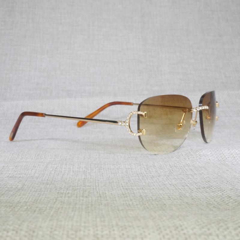 Luxry Strass Randloze C Draad Zonnebril Mannen Ovale Steen Brillen Metalen Frame Plein Shades Vrouwen Voor Zomer Outdoor Eyewear