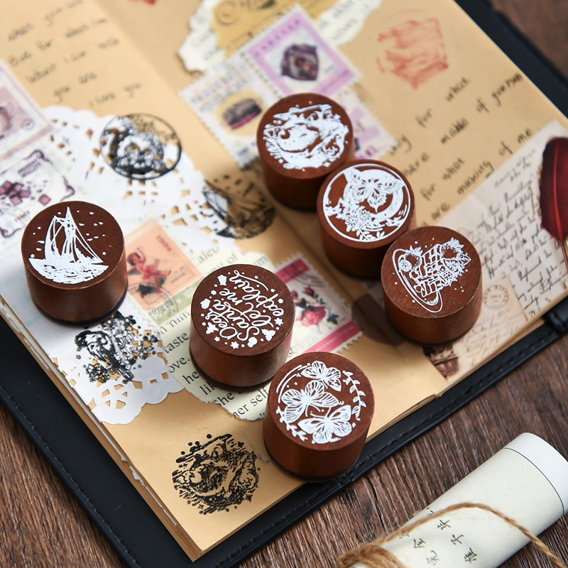 Dream is Departing Series decoration stamp whale butterfly wooden rubber stamps scrapbooking station