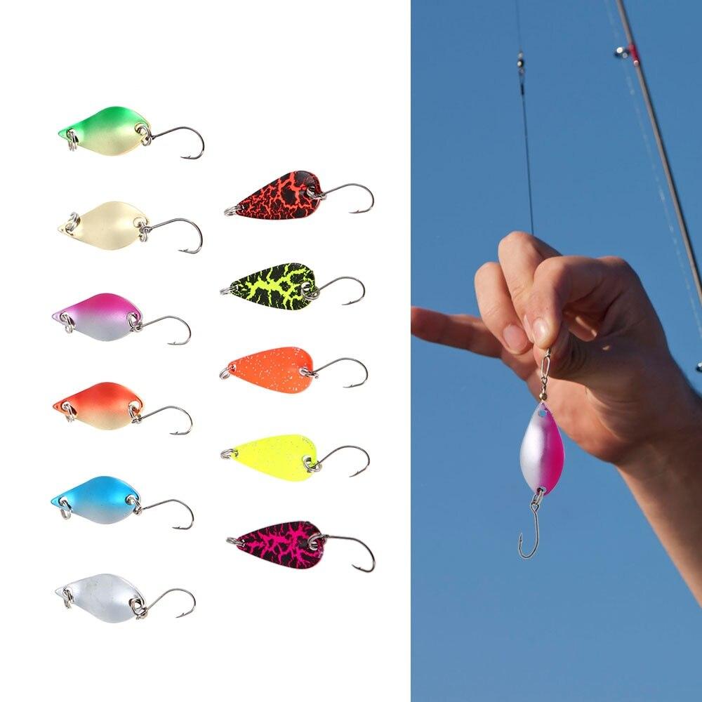 Lixada Pesca Señuelos de Metal 11 Uds mixto cucharas de colores señuelos conjunto Artificial señuelo para trucha duro cebos, aparejos de Pesca