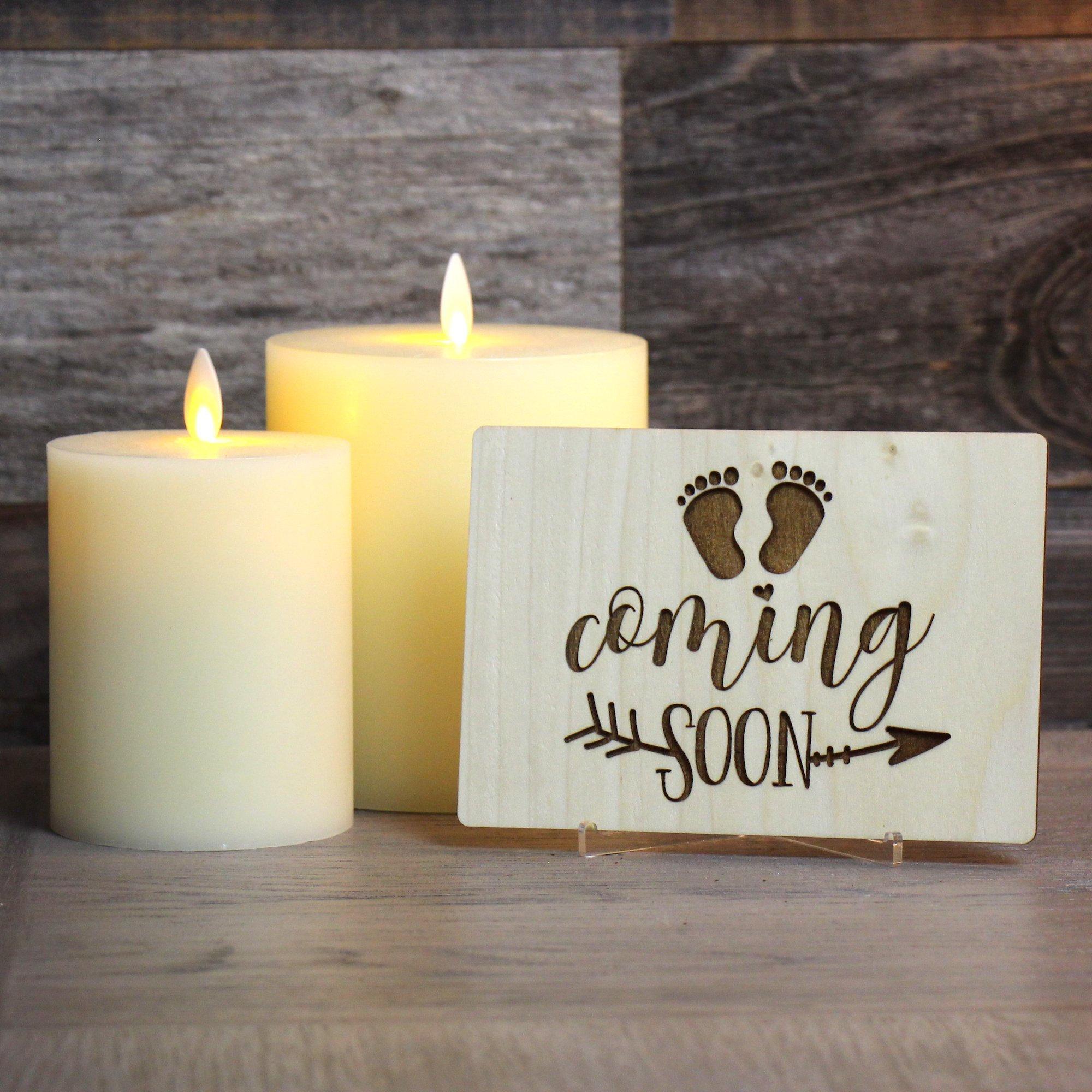 Tarjeta del Día de la madre de madera grabada, bautismo del bebé, Tarjeta del anuncio del bebé con mensaje personal, accesorio de la foto