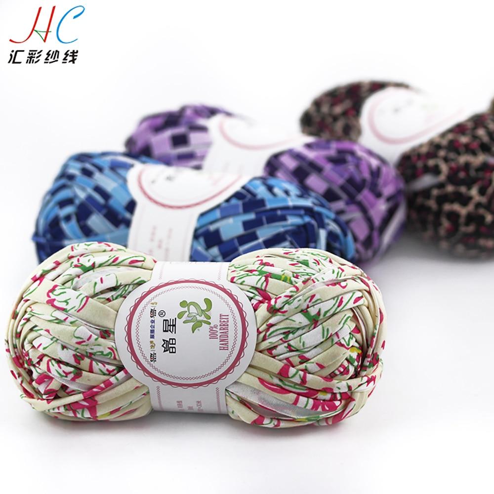 Wholesale 100% polyester T shirt yarn ribbon fabric yarn for hand knitting 100g skein fancy yarn