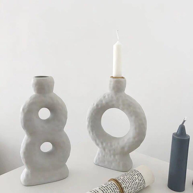 Criativo castiçal de cerâmica branco candelabros nordic vaso vela mesa mesa peça central presente aniversário bougeoir decoração para casa fc484