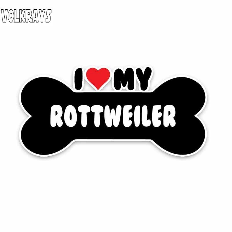 Volkrays Creative Car Sticker I Heart My Rottweiler Dog Bone Accessories Reflective Waterproof Sunscreen PVC Decal,6cm*14cm