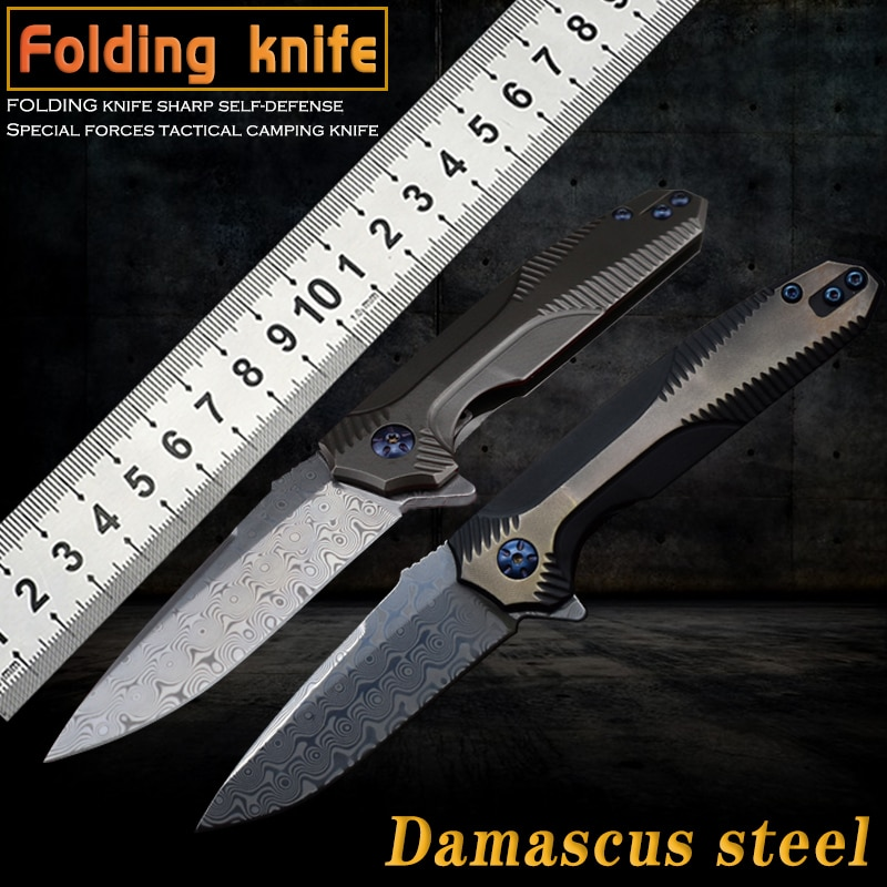 NEW Damascus steel folding knife camping hunting tactics fishing utility tool survival sharp self-defense EDC car  fruit knife недорого