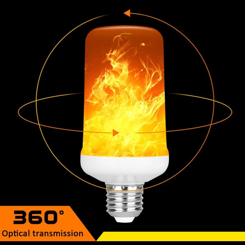 Led Flame Lamp Flame Effect Fire Light Bulbs E27 9W 220V 110V E26 E14 E12 B22 2835SMD Flickering Emulation 1300K 85-265V 4 Modes