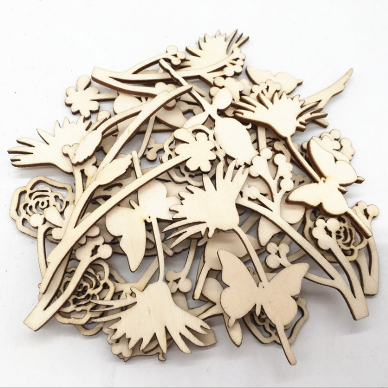 30 pièces/paquet pièces en bois découpées au Laser décoration de mariage bricolage Scrapbooking Rose fleur bois sculptures embellissement écologique