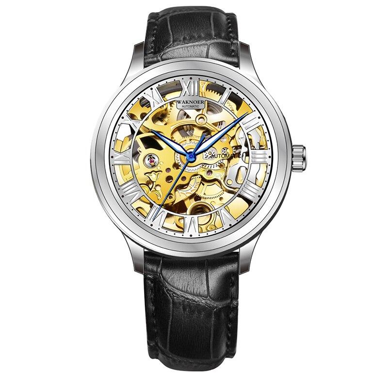 Reloj de pulsera de cuero mecánico automático para hombre, reloj de pulsera de lujo para hombre, reloj de pulsera para hombre