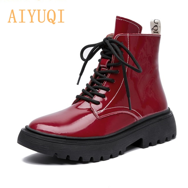 us size classical retro mens boots genuine leather lace up ankle boots zip work safety boots man winter shoes AIYUQI Women Martin Boots Winter 2021 New Genuine Leather Fashion Women Ankle Boots Lace Up Fur Women Motorcycle Boots