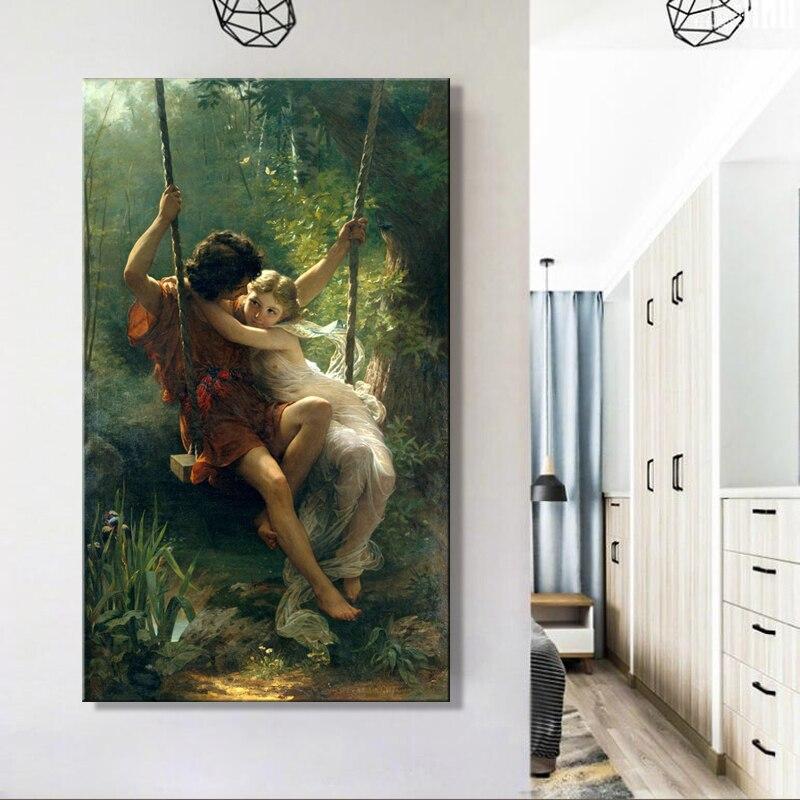 Primavera do vintage Balanço Pierre Auguste Cot Pintura Cuadros Posters e Impressões Nordic Lona Retrato Da Arte Da Parede para Sala de estar