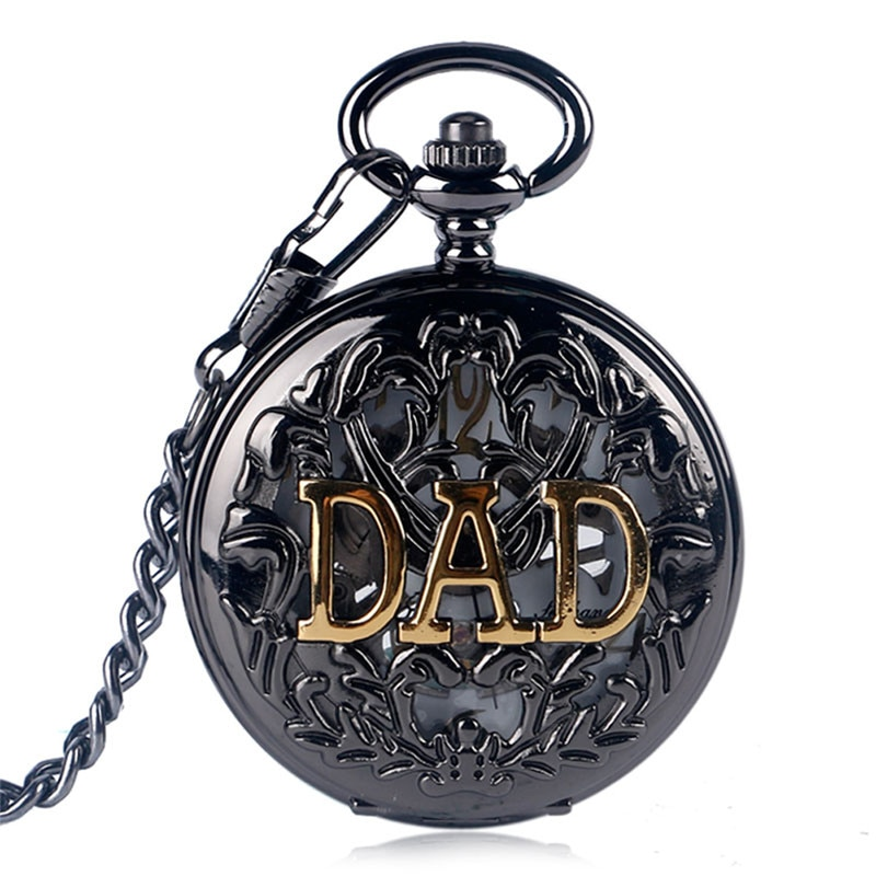 Steampunk Black Hollow Out Case Men's Handwinding Mechanical Pocket Watch Dad Design Pendant Chain Clock Gift To Father Reloj