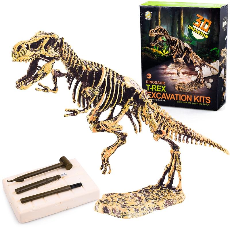 Arqueação de dinossauro fossil, brinquedo escavação artesanal modelo de esqueleto tiranossauro