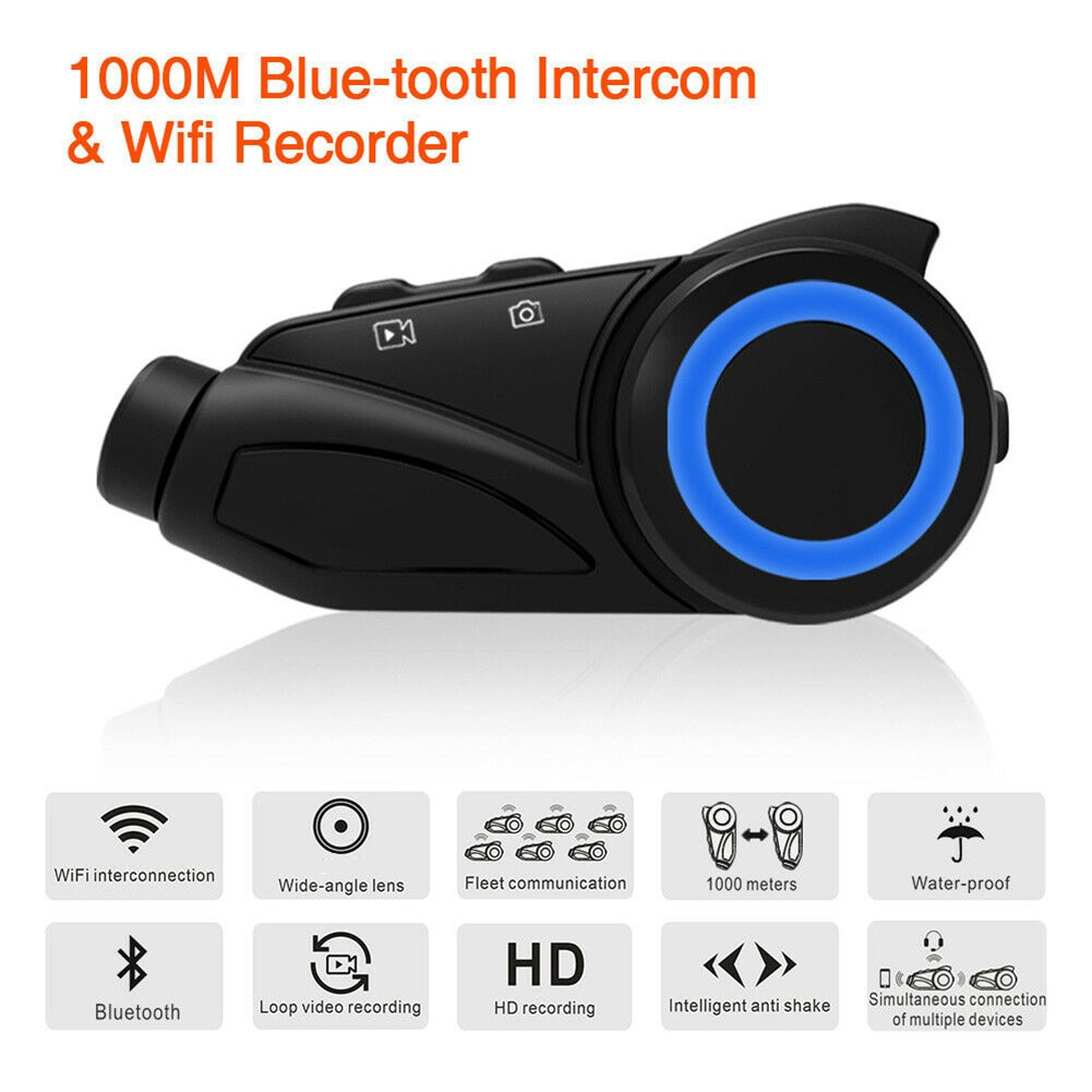 Intercomunicador para casco con Bluetooth y motocicleta, 1000m, resistente al agua, Grupo 6, intercomunicador para motociclistas con Wifi Hd 1080P, objetivo de cámara para grabación de vídeo