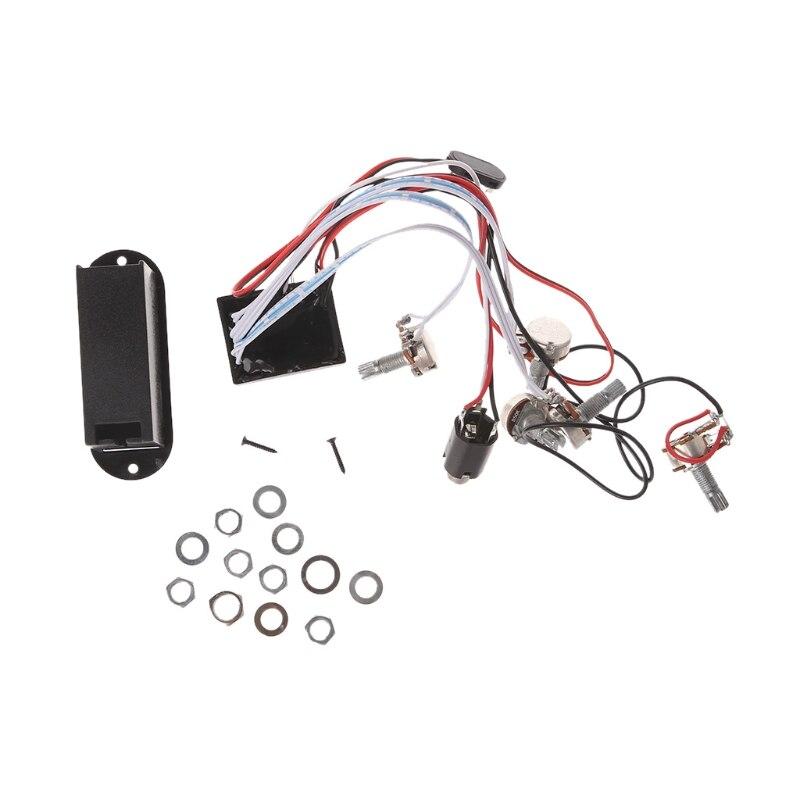 Potenciómetro Dual de guitarra de circuito preamplificador EQ de 3 bandas OOTDTY para captación activa de bajos