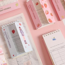1 Pcs Cute Mini Cherry Sakura Fruits Pig Girls Foreign Language Vocabulary Coil Book Notebooks Diary Notepad Escolar Stationery
