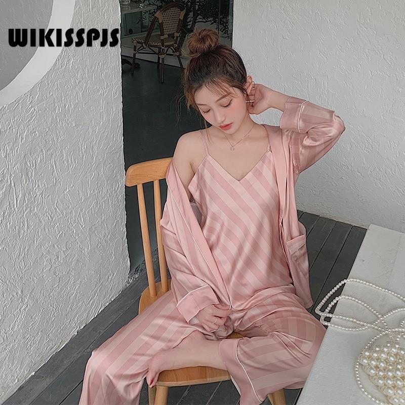 WIKISSPJS الصيف الحمالة السراويل مثير الخريف منامة ثوب النوم مجموعة ثلاث قطع ملابس المنزل منامة للنساء المتسكعون