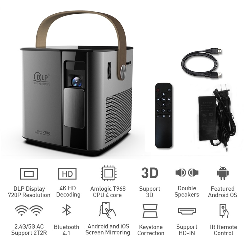 P12 Mini Full HD 4K lámpara para proyector Android 3D 1080P 2G + 16GB teléfono inalámbrico 5G Wifi bluetooth 2000mAh proyector DLP 180 ANSI