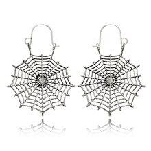 HuaTang Retro złoty kolor srebrny Hollow pająk Web kolczyki Boho dla kobiet geometryczne wiszące kolczyki biżuteria Oorbellen 3617