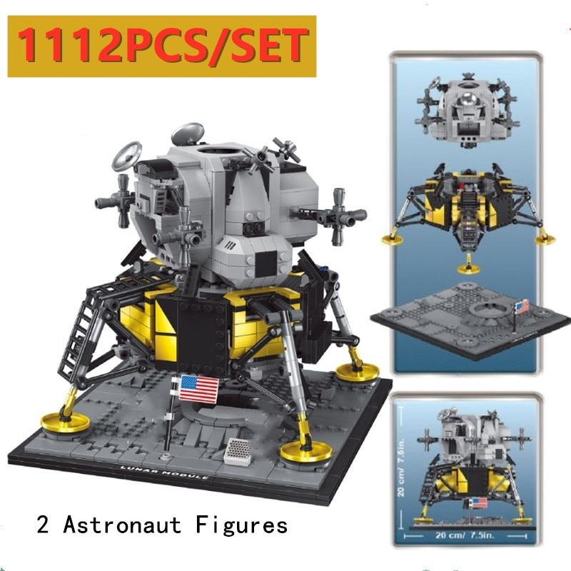 Nueva Serie del espacio Apollo de EE. UU. 11 Lunar Moudle Lander Fit LeGINGlys 10266 Technic niños Navidad DIY regalo creador de Juguetes
